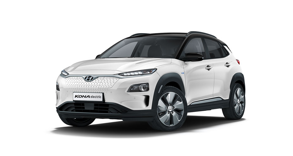 Kona Electric Chalk White with Black Roof